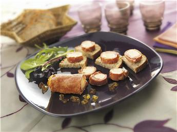 Ham and Duck Foie Gras Roulades with Sauternes Jelly - 25% Duck Foie Gras